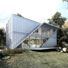 Modern and contemporary shipping container design. Container Cafe, Storage Container Homes, Cargo Container, Sea Container Homes, Shipping Container Home Designs, Shipping Containers, Shipping Container Office, Shipping Container Buildings, Prefab Shipping Container Homes