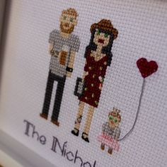 2 Adults And A Child. Custom Cross Stitch by RussianStitches