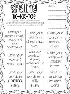 All Students Can Shine: Sight Words & Spelling Tic-Tac-Toe FREEBIE. Change to vocabulary words menu Spelling Activities, Sight Word Activities, Writing Activities, Spelling Games, Spelling Menu, Spelling Centers, Spelling Ideas, Listening Activities, Spelling Worksheets