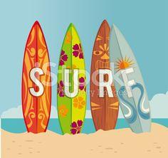 Surf design cliparts vectoriels libres de droits