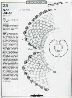 "Photo from album ""магия вязания on Yandex. Crochet Collar Pattern, Col Crochet, Crochet Lace Collar, Crochet Stitches Chart, Crochet Lace Edging, Crochet Woman, Knitting Charts, Crochet Doilies, Crochet Edgings"