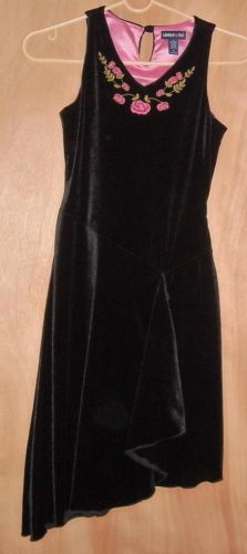 Limited Too Girls Black Velvet Dress with Pink Detail Size 12 Ships Free to USA
