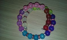 Rainbow frosted glass beaded wire bracelet. Beautiful colors! by tonispretties on Etsy