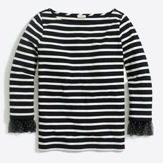 Long-sleeve striped T-shirt with dotted tulle cuff