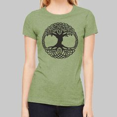 96e38b82a Womens Fitted T Shirts Celtic Tree Tee // Graphic Tshirts, Junior Tees,  Screenprint Shirts, Bella Canvas Tri Blend Tee