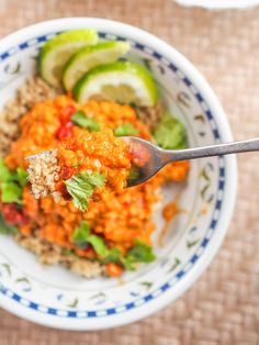 Vegan lentil curry with tomatoes makes for the perfect meatless one pot dinner ready in 30 minutes. Requiring only kitchen staples, a few spices and the star ingredients - red lentils, coconut milk and canned tomatoes. This is a dish you'll be making over and over again. Gluten-Free too.