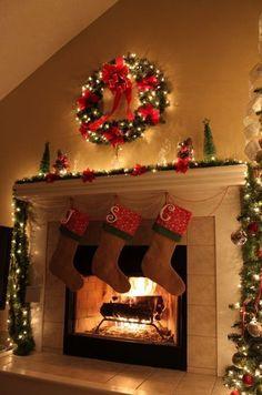 Christmas Fireplace, christmas lights, xmas tree christmas ideas www.loveitsomuch.com