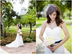 the black sash and birdcage veil gives this bridal ensemble the chic factor