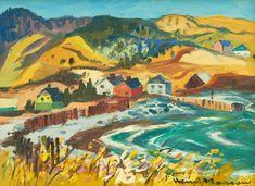 """""""Anse au Griffon, Gaspésie,"""" Henri Masson, 1977, oil on canvas, 12 x 16"""", private collection."""