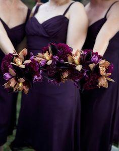 rich dark purple wedding bouquets!