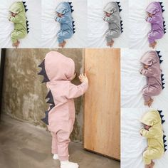 00359bc01 Kids Baby Boy Girl Newborn Infant Dinosaur Hooded Romper Jumpsuit Clothes  Outfit