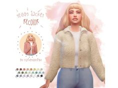 The Sims 4 Teddy Jacket Recolor by nativemoonlight Sims Four, The Sims 2, Sims 4 Mm Cc, Sims 4 Cas, Maxis, Sims 4 Mods Clothes, Sims 4 Clothing, Vêtement Harris Tweed, Sims 4 Game Mods