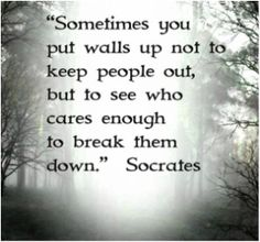 Sometimes you put walls up not to keep people out, but to see who cares enough to brake them down.