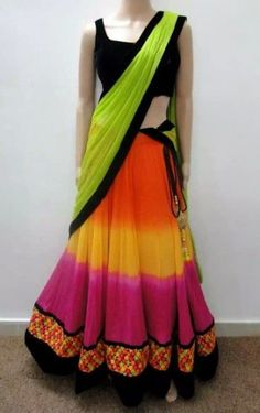 Multi colour half saree with neon green duppata and black blouse
