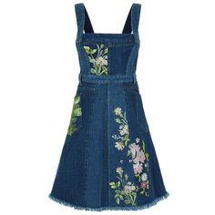 Alexander McQueen Embroidered Raw Hem Denim Dress (10.140 BRL) ❤ liked on Polyvore featuring dresses, платья, embroidered denim dress, denim dresses, blue dress, floral embroidered dress and embroidery dress