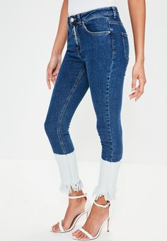 Missguided - Blue Anarchy Mid Rise Bleach Hem Skinny Jeans