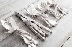 simple ribbon tied silverware