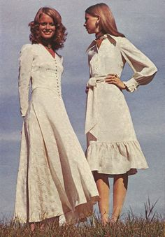 December 1970. 'Return to yesterday today for a cameo look that shines – whipped in creamy lace and satin froths.