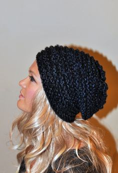 Slouchy Hat Slouch Beanie Hand Knit