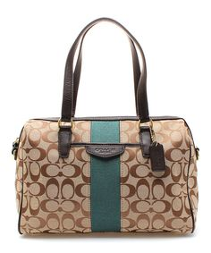 Look at this Coach Khaki & Forest Signature Stripe Nancy Satchel on #zulily today!