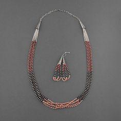 "Wright's Indian Art > Jewelry > Necklaces > Mary Aguilar (Jemez Pueblo ""Walatowa"", Santo Domingo Pueblo (Ke-Wa)) > Silver Bead Three Color Necklace with Earrings"
