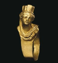 Roman Gold Tyche Ring, 1st-2nd Century AD - Tyche was the presiding tutelary deity that governed the fortune and prosperity of a city
