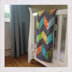 Chevron baby and toddler cot quilt