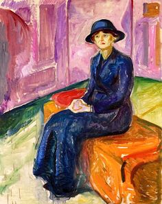 """Seated on a Suitcase""  by  Edvard Munch  (c. 1913)"