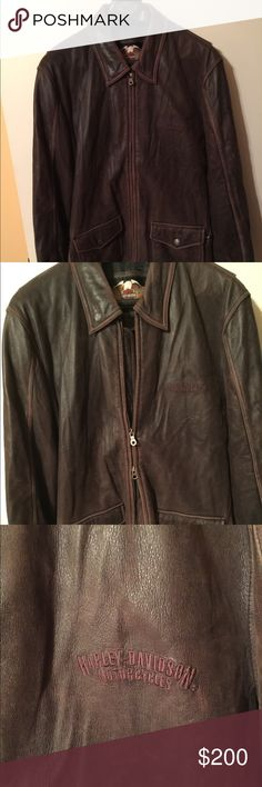 Harley Davidson men's size L Brown leather coat Harley Davidson men's size L brown leather coat.  All zippers, snaps, etc.  are in great condition.  There is a small hole in the lining of the left side pocket.  This is a great true vintage coat!  Well taken care of by my husband!  From a smoke free home. Harley-Davidson Jackets & Coats