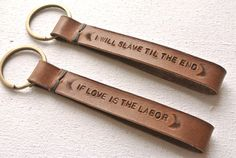 Personalized Message Leather KeyChain Hand-stitched/ stamped