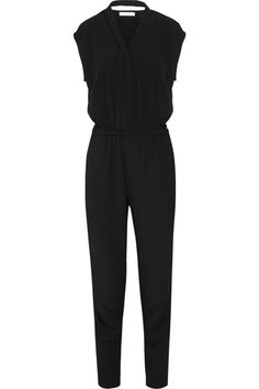 """Sandro Preference Crepe Jumpsuit. """"Paired with a loafer, kitten heel, or even a black sneaker, this jumpsuit is effortlessly cool. Chilly outside? Throw on a chunky cardigan or baseball-style jacket and hit the town."""""""