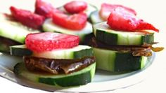 Raw Cucumber Tea Sandwiches Recipe - Raw Recipes ~  Ingredients:      1 Cucumber     7 large medjool dates     Strawberries for topping