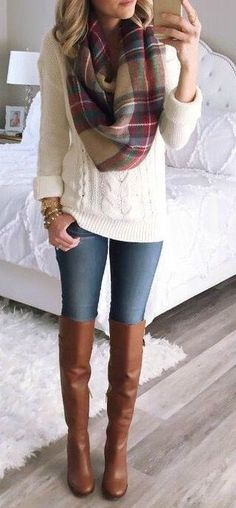 what to wear with a palid scarf : knit sweater + skinny jeans + brown high boots