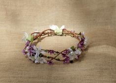 Purple and white floral bridal hair wreath for a summer wedding by HollyHoopsArt on Etsy.