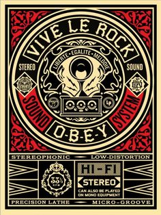 """Shepard Fairey will release tomorrow at two random time a new screenprint untitled """"VIVE LE ROCK"""". Liberté, égalité, melodie. (Edition of 450). http://www.obeygiant.com/store/"""