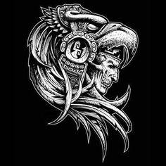 Mayan Tattoos, Aztec Tribal Tattoos, Mexican Art Tattoos, Aztec Tattoo Designs, Aztec Art, Aztec Designs, Aztec Symbols, Azteca Tattoo, Chicano Drawings