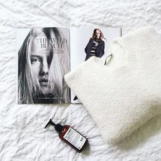 Friday morning chillaxing with a super fluffy sweater & a good read ☺ What are you doing today? : @connectedtofashion