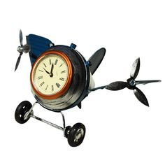 promo table clocks retro aircraft model clock metal electronic household decor desk classic retro #model #aircraft