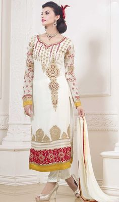 Redefine elegance wearing this off white color embroidered georgette pant style suit. You could see some interesting patterns carried out with lace and resham work.  #offwhitestraightdress #embroidereddresses #pantstyledressdesign