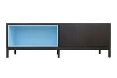 Sideboard in Eiche geräuchert mit hellblauer Nischer Sideboard, Cabinet, Storage, Furniture, Home Decor, Light Blue, Oak Tree, Clothes Stand, Purse Storage