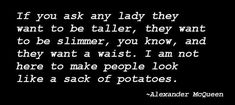 Alexander McQueen On Potatoes