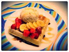 Strawberry Waffles with Vanilla Ice-cream