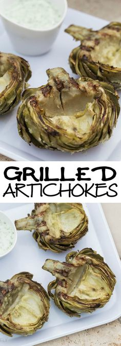 Easy Grilled Artichokes Recipe great for an side dish with steaming instructions. Healthy version of a stuffed artichoke. Also, with Marinade for brushing on while grilling and green dip recipe. #SundaySupper