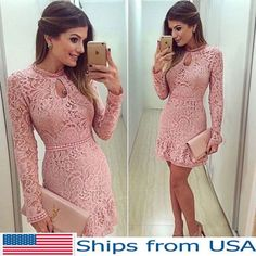 Womens Bodycon Dress Pink Long Sleeve Evening Party Cocktail Lace Summer Bandage