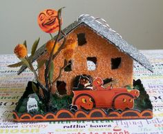 halloween  putz house | Very Merry Vintage Syle: Halloween Glitter Houses {Cute ... | PUTZ ...