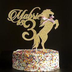 Custom horse cake topper gold cake topper birthday #GlitterCake