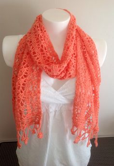 Beautiful Coral Crochet Spring/Summer Scarf by Tippytop60 on Etsy https://www.etsy.com/listing/229409586/beautiful-coral-crochet-springsummer