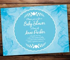 Printable Baby Shower Invitation  Pale Blue by SixDaysCreations