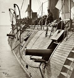 1862. On the James River in Virginia. Effect of Confederate shot on Federal ironclad Galena.
