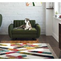 Tucker Murphy™ Pet Cauthen Mid Century Plush Dog Sofa & Reviews   Wayfair Dog Sofa Bed, Dog Beds, Wood Frame Construction, Types Of Beds, Pet Furniture, Upholstered Platform Bed, Cushion Fabric, Back Home, Home Gifts